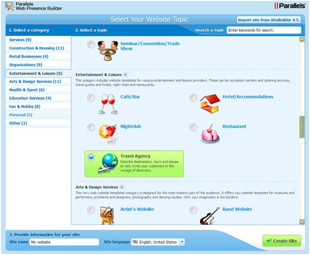 diseño con web presence builder
