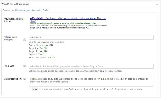 Sección SEO en entrada WordPress